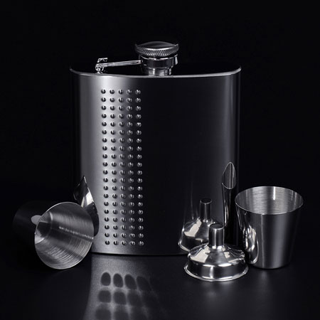 Portable 8 oz Stainless Steel Liquor Flask Gift Set for Men