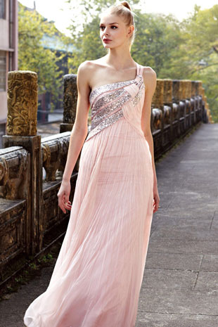 Chiffon Long Occasion Dress - Pink Formal Dress