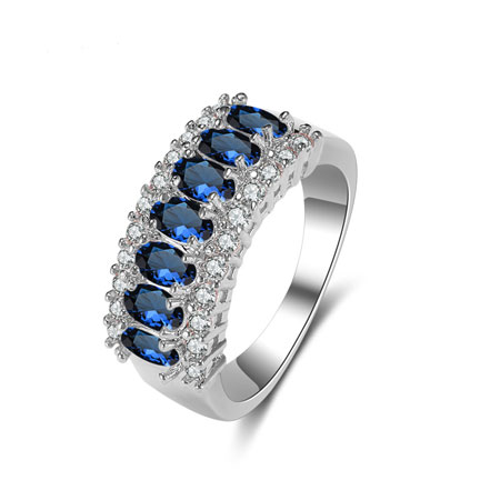 925 Silver Natural Sapphire Alternative Engagement Rings - Click Image to Close