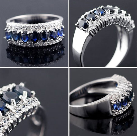 925 Silver Natural Sapphire Alternative Engagement Rings