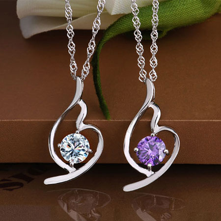Purple Sterling Silver Amethyst Angel Necklace and Earring Set
