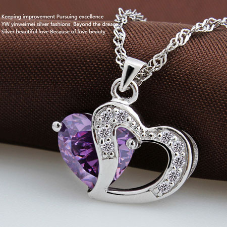 Diamond Amethyst Sterling Silver Double Heart Necklace