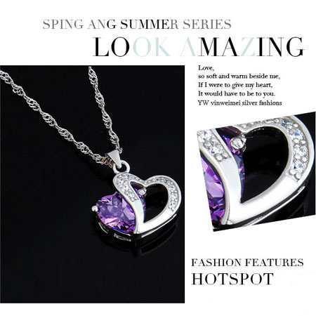 Diamond Amethyst Sterling Silver Double Heart Necklace - Click Image to Close