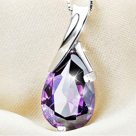Graceful sterling silver amethyst tear water drop pendant necklace women sterling silver amethyst tear water drop pendant necklace aloadofball Gallery