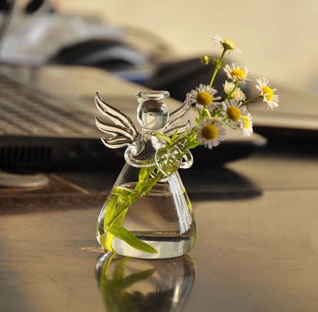 Angel Holding Flowers Hand Blown Glass Vases Egifts2u