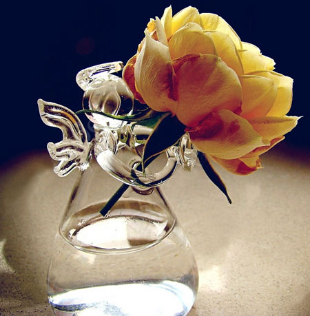 Angel Holding Flowers Hand Blown Glass Vases