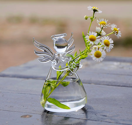 Angel Holding Flowers Hand Blown Glass Vases Egifts2u