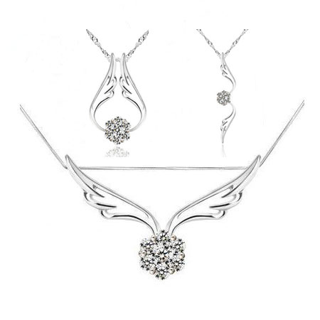 Angel's Wing Alloy Rhinestone Heart Necklace