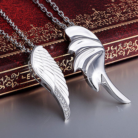 Matching Silver Angel's Wing Necklaces for Men and Women