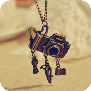 Antique Brass Camera Long Pendant Necklace