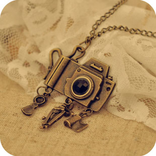 Antique brass camera long pendant necklace egifts2u antique brass camera long pendant necklace mozeypictures Image collections
