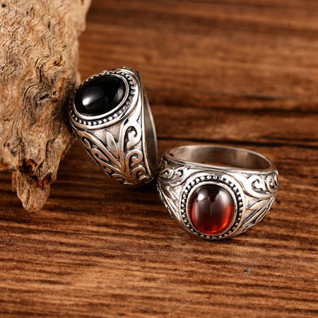 Stunning Oval Ruby Antique Sterling Silver Rings with Gemstone