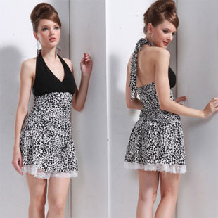 Backless Halter Mini Leopard Party Dresses for Juniors