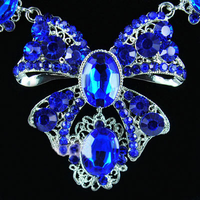 Blue Rhinestone Multi Sapphire Wedding Necklace Earrings Sets