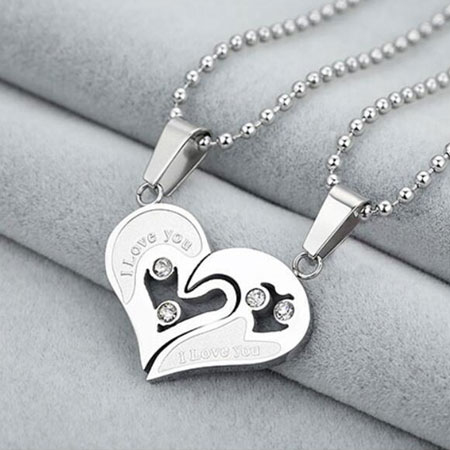 Two Half Hearts I Love You Broken Heart Necklaces for Couples
