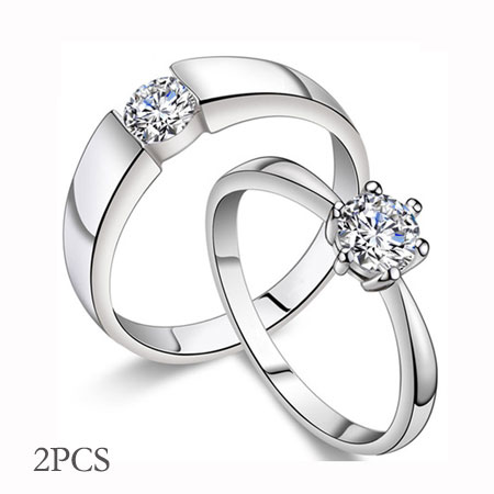 Cheap CZ Sterling Silver Wedding Ring Sets for Men & Women - Click Image to Close