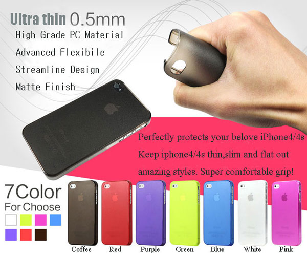Colorful Thin Semi Clear Cheap iPhone 4 Hard Cases-(2pcs)