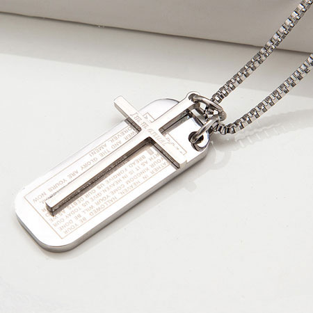 Christian Silver Cross Shield Titanium Charm Necklace Men/Women