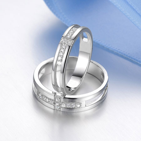 Christian Silver Celtic Cross CZ Wedding Engagement Rings Set