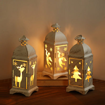 Christmas Candle Lanterns - Vintage Tealight Candle Holders - Click Image to Close