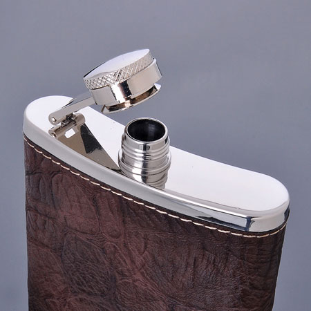 Cool 7 oz Stainless Steel Wine Flask with Leather Cover