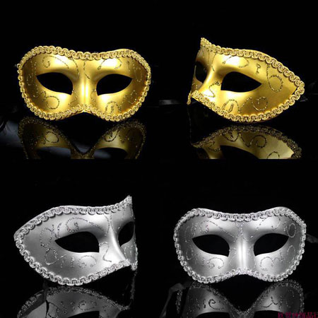 Gold Feather Venetian Masks Silver Masquerade Masks for Couples