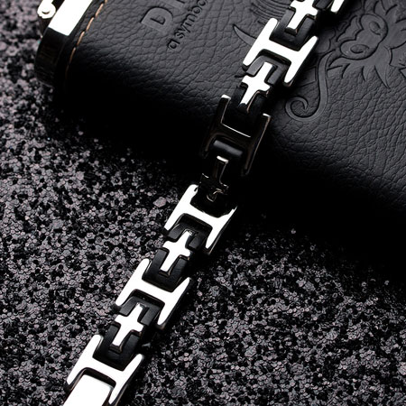 Contrast Black & White Cross Titanium Steel Bracelets for Men - Click Image to Close