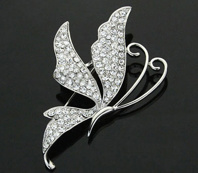 Gold and Silver Swarovski Crystal Butterfly Pin Brooches