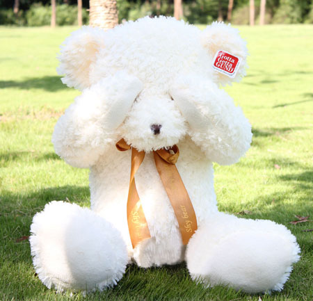 Cute Brown and white Mohair Little Teddy Bear Medium Size
