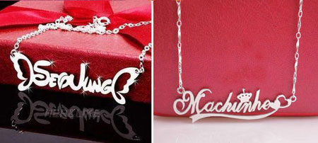 Personalized Designed Sterling Silver Name Engraved Necklace