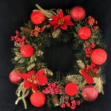Decorated Pine Garland Christmas Door Hanging Wreath