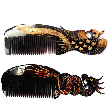 Natural Buffalo Horn Hair Comb Carved with Dragon Phoenix