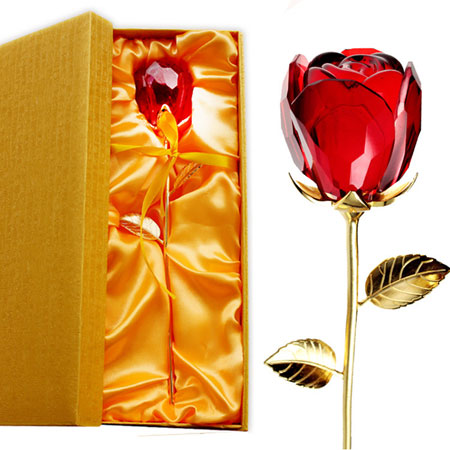 Golden and Crystal Rose for your beloved this Valentines Day