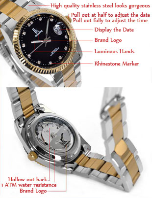 Gold Cheap Automatic Diamond Watches for Men