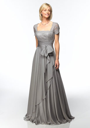 Silver Lace Sleeved Dresses for Mother of the Groom - Click Image to Close