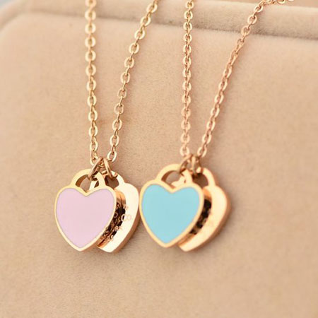 Women's 18K Rose Gold Love Heart Necklace for Girlfriend - Click Image to Close