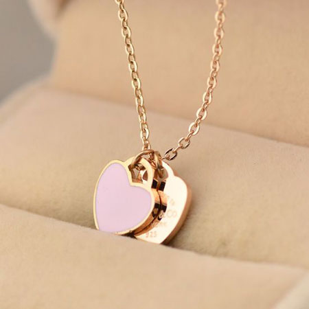 18k rose gold split heart necklace for girlfriend and. Black Bedroom Furniture Sets. Home Design Ideas
