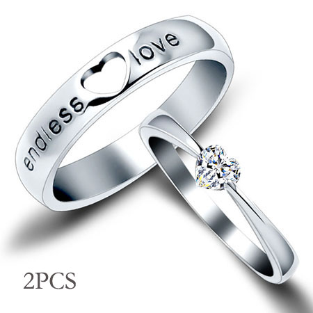 Heart Engraved Sterling Silver His and Her Wedding Ring Sets Cheap