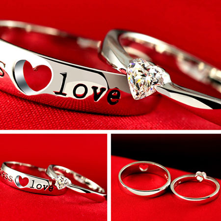 Heart Engraved Sterling Silver His and Her Wedding Ring Sets