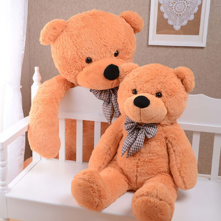 Big Brown Stuffed Bear Cute Big Teddy Bears with Bows - Click Image to Close