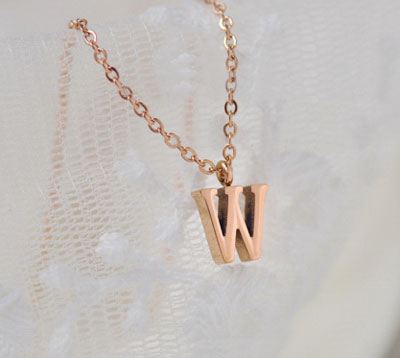 Cheap 18K Rose Gold Letter Pendant Necklace Initial Charms