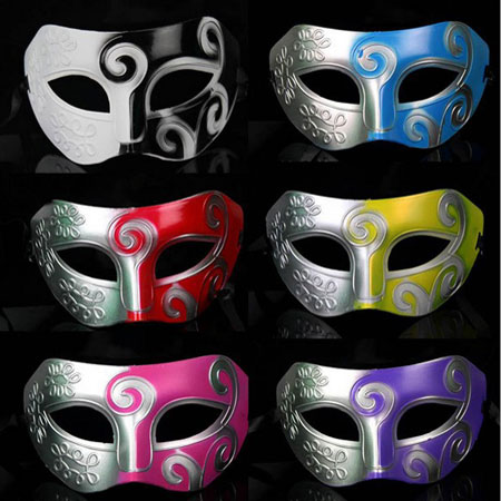 Multi Color Silver Tone Noble Italian Masquerade Masks for Men