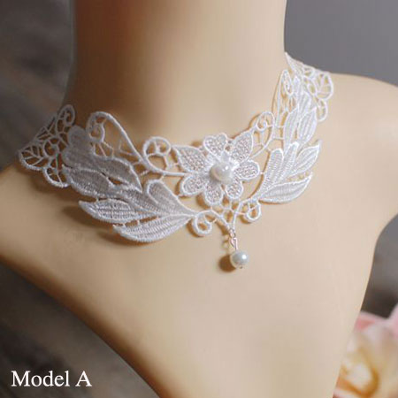 Ivory White Lace Collar Gothic Lolita Bridal Choker Bib Necklace