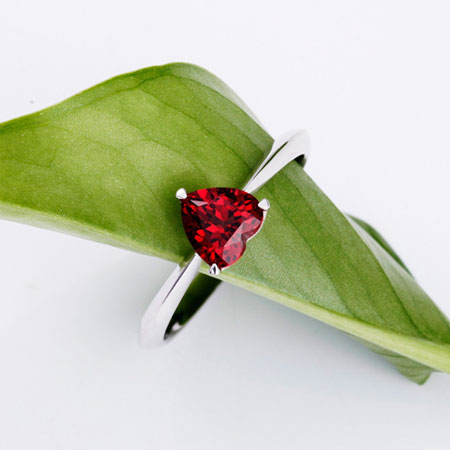 925Silver Heart Shape Garnet Birthstone Promise Ring for Women