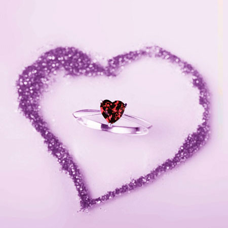 925 Silver Heart Shape Garnet Birthstone Promise Ring for Women