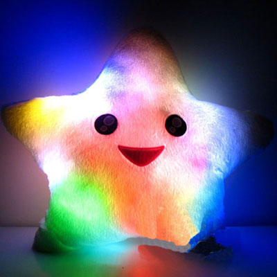 Colourful LED Light up Star Shaped Pillow for Girls and Boys