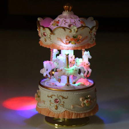 Vintage Resin Led Music Boxes for Kids Carousel Toys