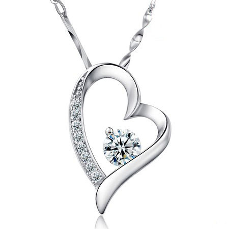 Sterling Silver Love Heart Necklaces with Diamond for Women