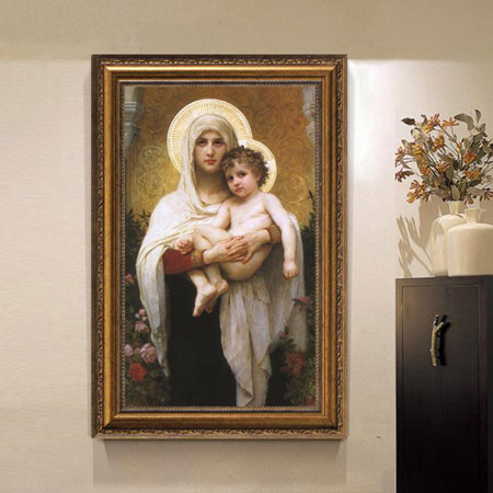 Madonna Virgin Mother Mary & Child Oil Painting Canvas Print