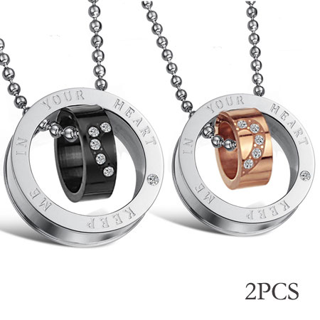 Matching Titanium Double ring and Open Heart Couples Necklaces